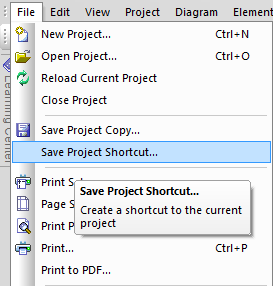 EA - menu - Save Project Shortcut