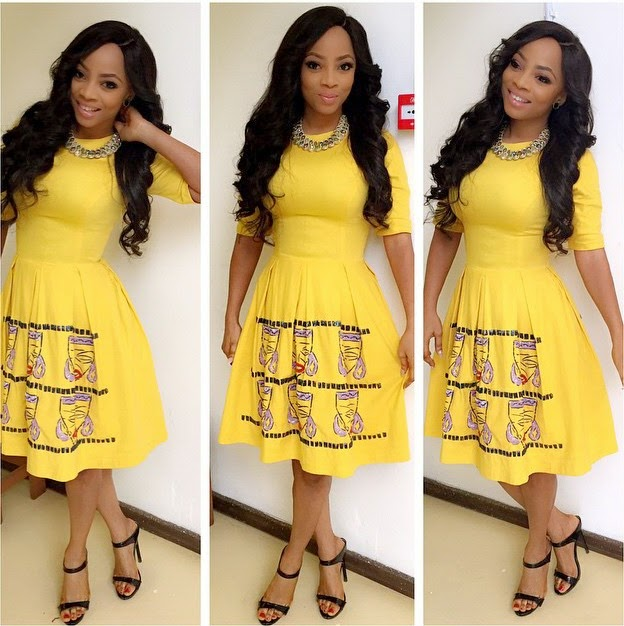 Toke Makinwa dazzles in yellow (Photos)