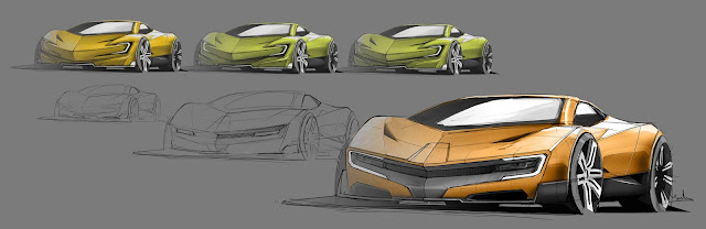 Marcelo Aguiar Mean Metal Motors M-Zero sketches front 3/4 view