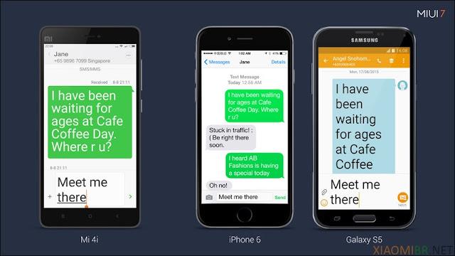 Comparação do texto grande da MIUI 7