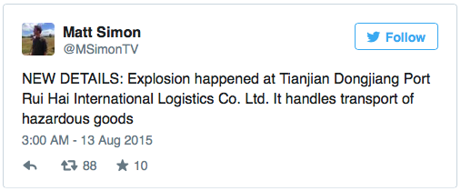 Terkini Satu Letupan Besar Gegarkan Tianjin China