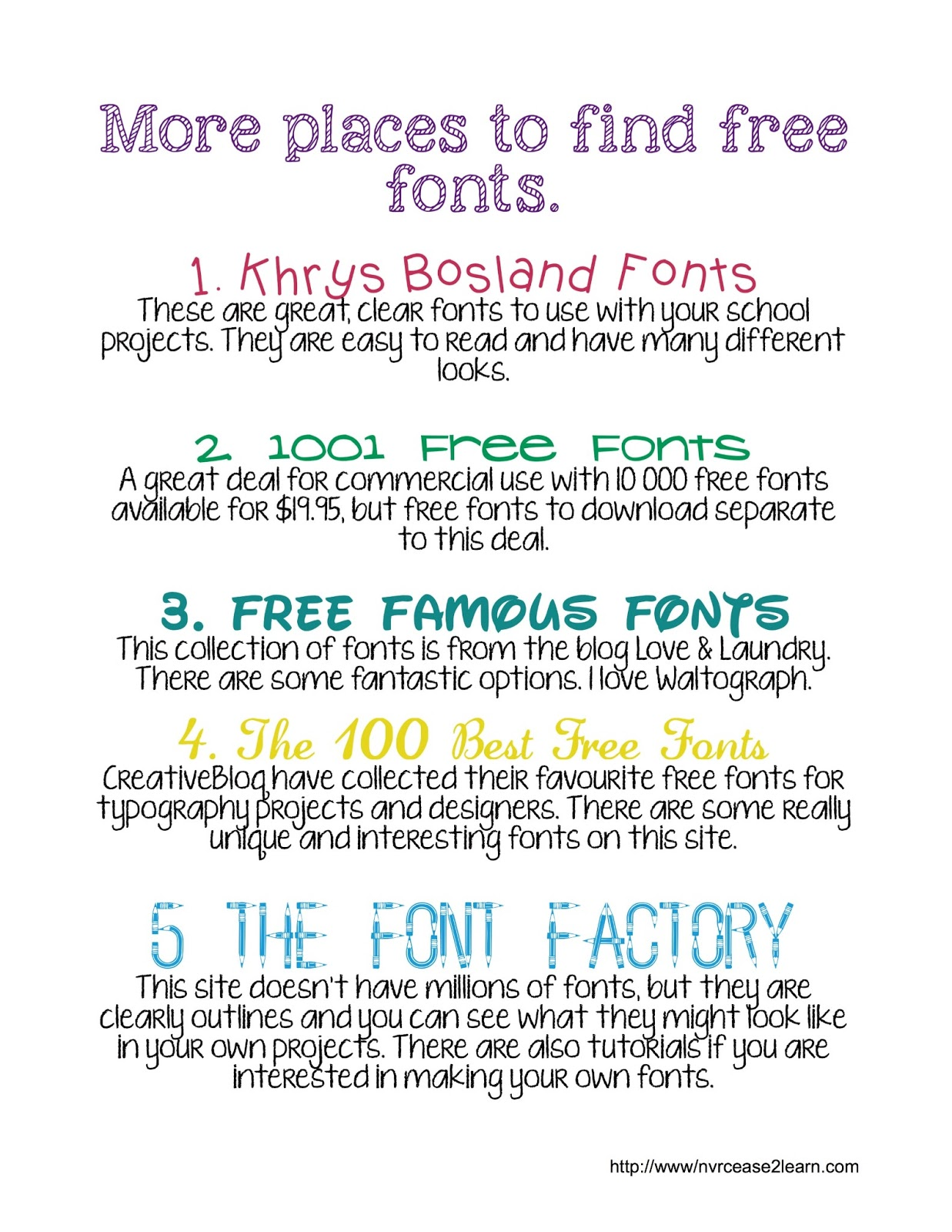 Never cease 2 learn font roundup 1 khrys bosland fonts 2 1001 free fonts 3 free famous fonts 4 the 100 best free fonts 5 the font factory baditri Gallery