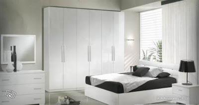 habitación gris y blanco