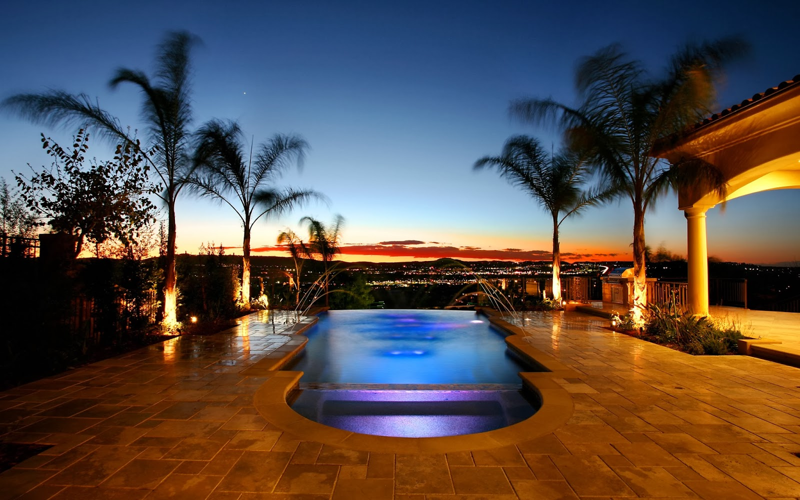 Picture collection luxury pool resort romantic landscape for Luxury 3d wallpaper