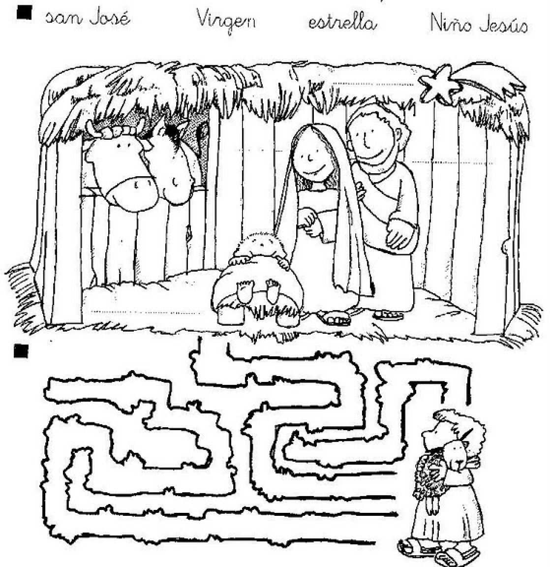 Dibujos Cristianos De Navidad  Pesebre Para Colorear