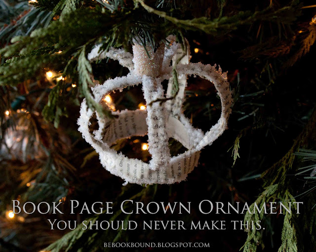 Be Book Bound Christmas Carols Book Page Crown Ornaments
