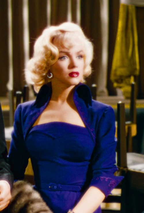 Marilyn Monroe wears her royal blue outfit in Gentlemen Prefer Blondes