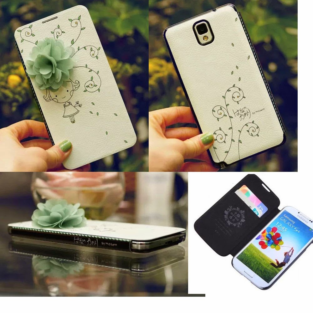 Cute 3D Flower Ultra Thin Card Leather Wallet Flip Case Cover for Samsung Galaxy