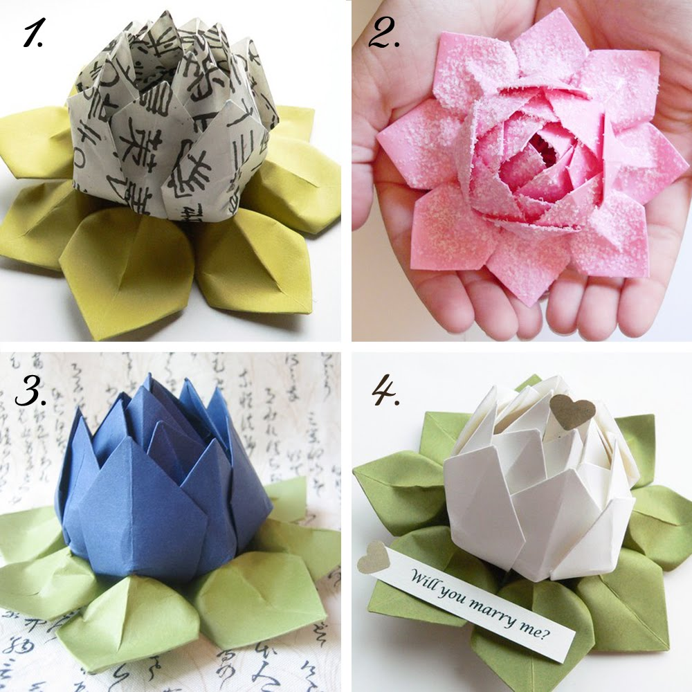 How to knit origami lotus flower video tutorial for How to make a lotus with paper