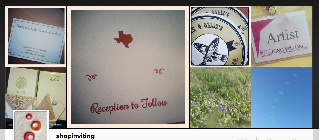 inviting's instagram header online, all photos taken in austin texas by letterpress printer inviting | shopinviting.