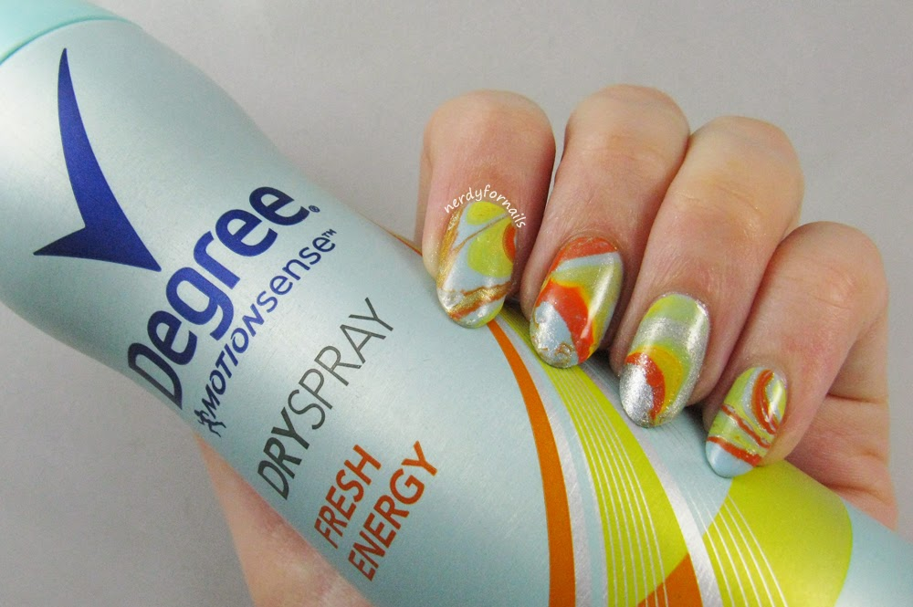Degree TryDry Dry Spray Antiperspirant for Influenster Water Marble Nails and Review