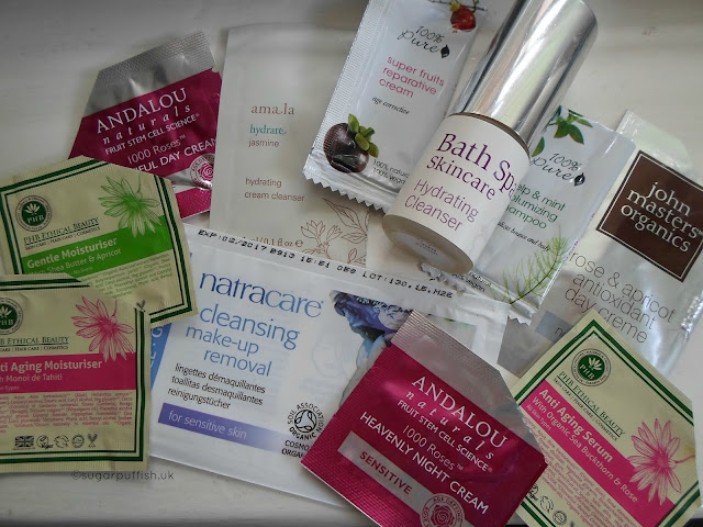 Reviews Samples Natural & Organic skincare Andalou Naturals, PHB Ethical Beauty, 100% Pure, John Masters