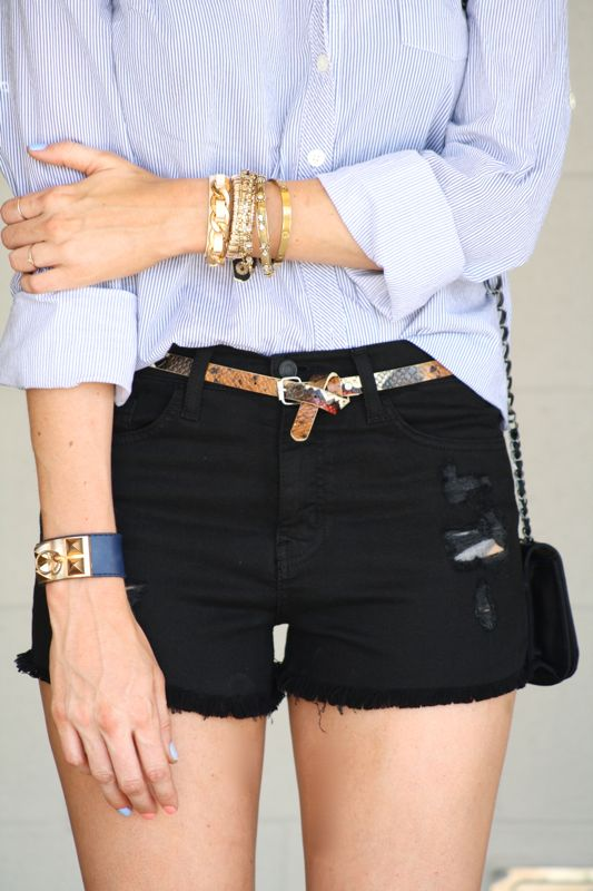 Button up & Shorts, Little Black Shorts, Denim Cut Offs, Personal Style Blogger