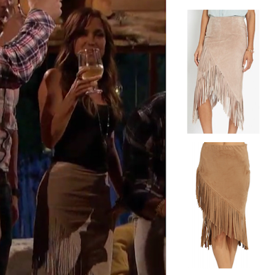 Look for Less Bachelorette Kaitlyn Bristowe in Intermix Exclusive Asymmetric Suede Fringe Skirt