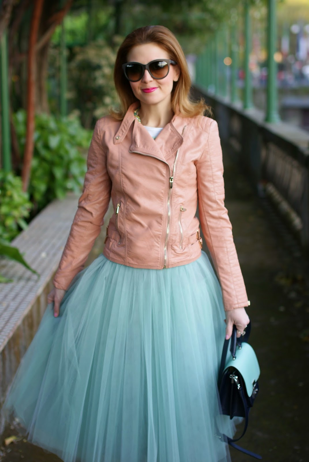 midi tulle skirt, mint tulle skirt, pink faux leather biker jacket, Fashion and Cookies, fashion blogger