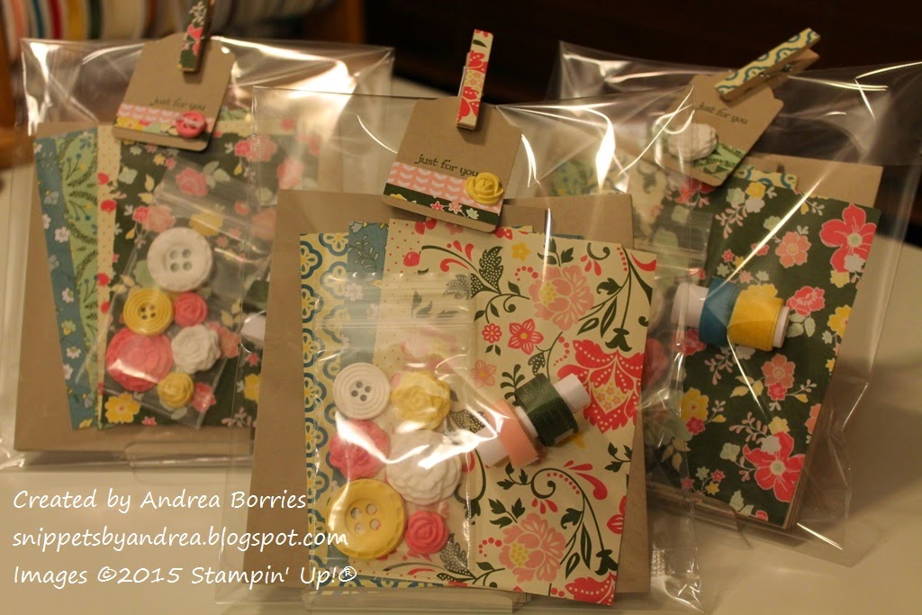 Card kits include four note cards and envelopes, pieces of printed paper and coordinating embellishments.
