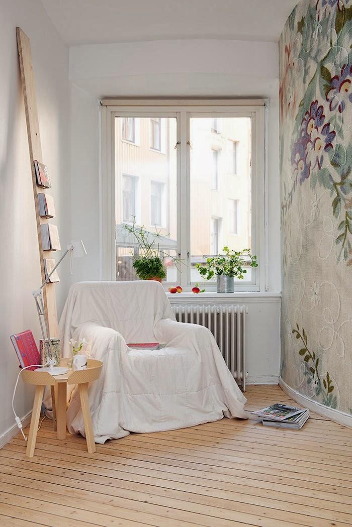 Decoraci n f cil papel pintado con flores bordadas - Papeles pintados romanticos ...