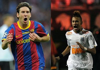 duelo entre o campeão sul-americano Santos e o campeão europeu Barcelona