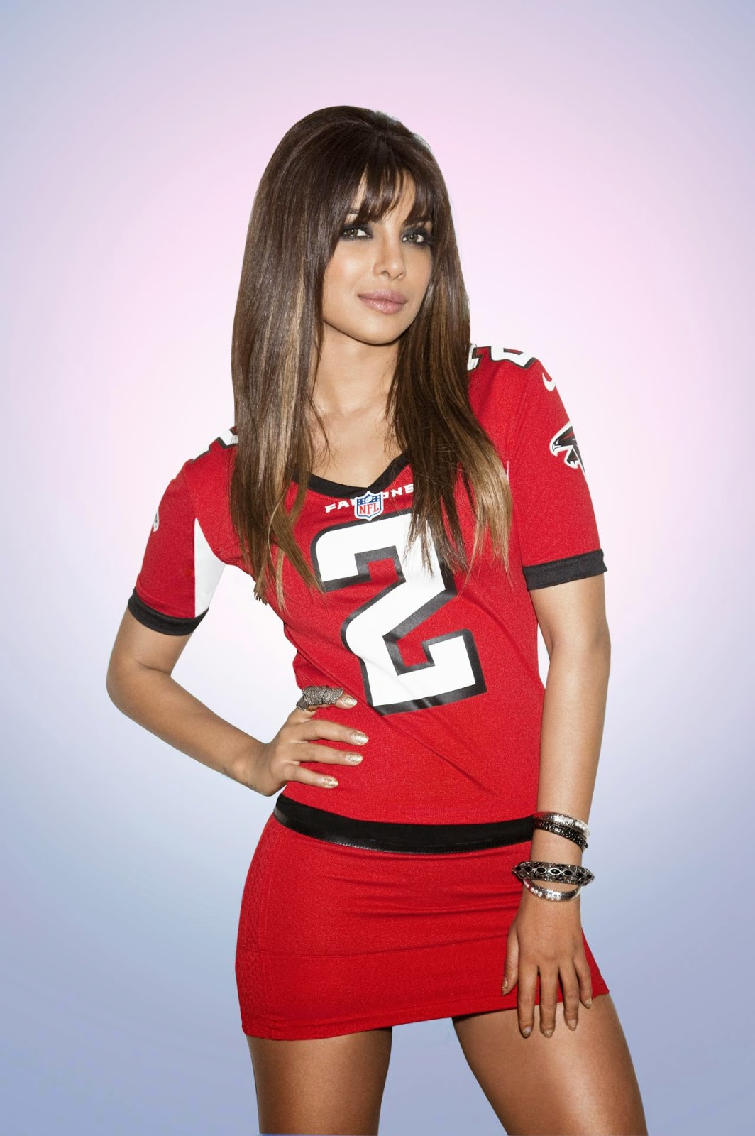 Priyanka Chopra in Red NFL Jersey
