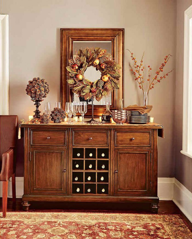 Consider Decorating Other Areas In Your Home For Thanksgiving. As Shown  Below The Mantle And Buffet Serving Table Look Beautiful Decorated With  Harvest ...