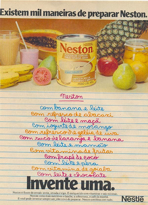 Campanha do Neston (Nestlé) com 'mil e uma maneiras de preparar'.