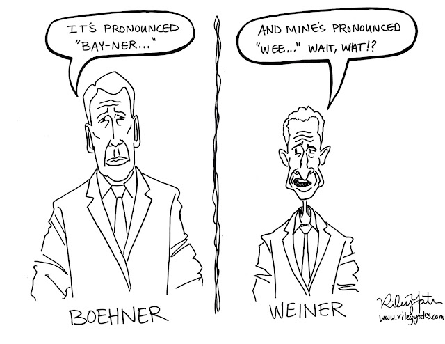 Political cartoon, Weiner cartoon, Boehner cartoon