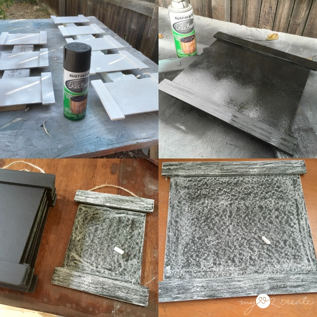 spray painting chalkboard paint onto frames