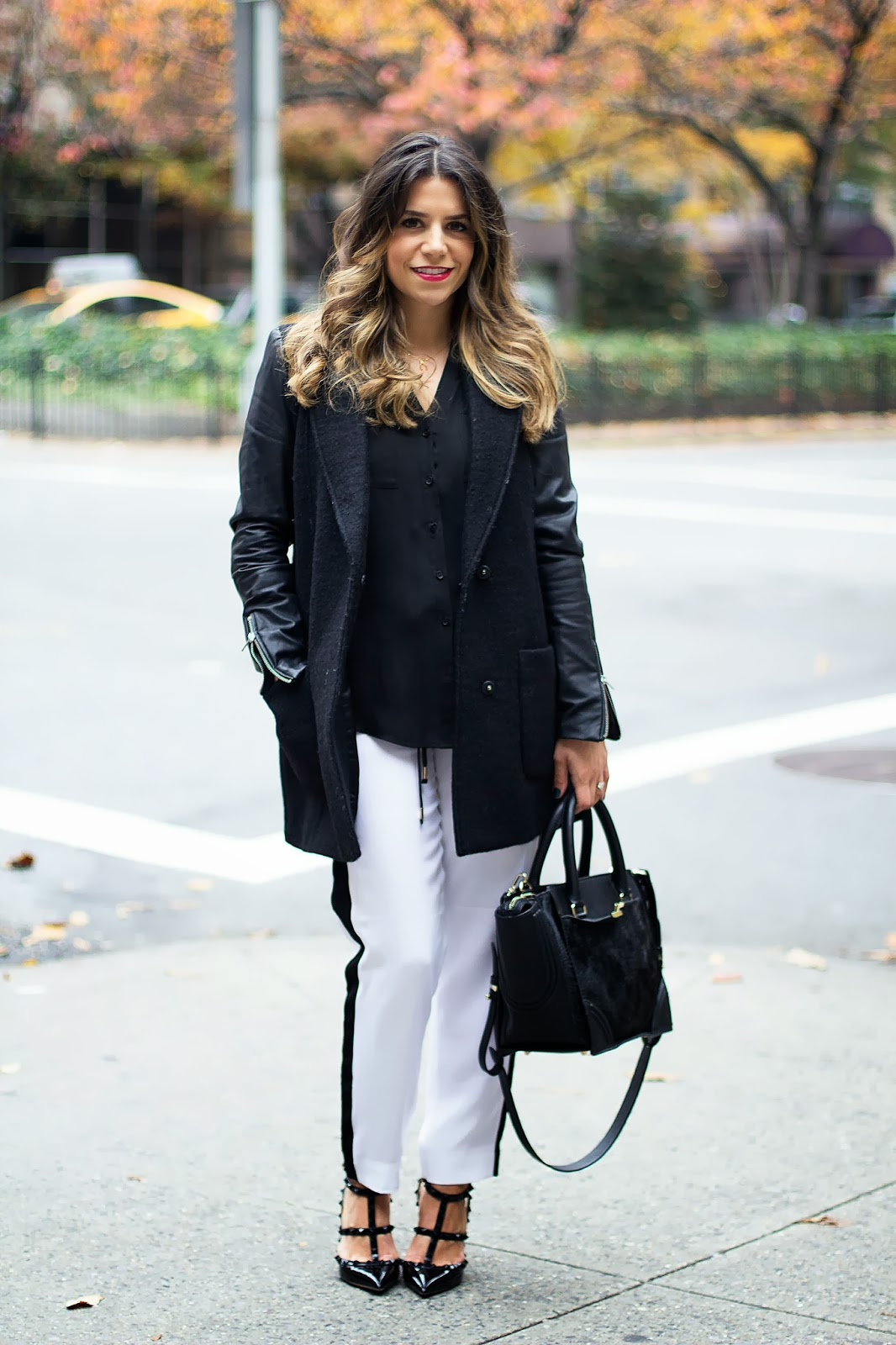 black; nyblogger; zara coat; express fashion; fashion blogger; track pants; valentino rockstud heels; valentino; valentino rockstud; michael kors; zara bag; black outfit; fall fashion; what to wear in NYC;
