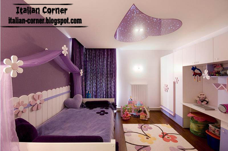 Contemporary Girls Bedrooms Designs With Italian Ideas   Purple