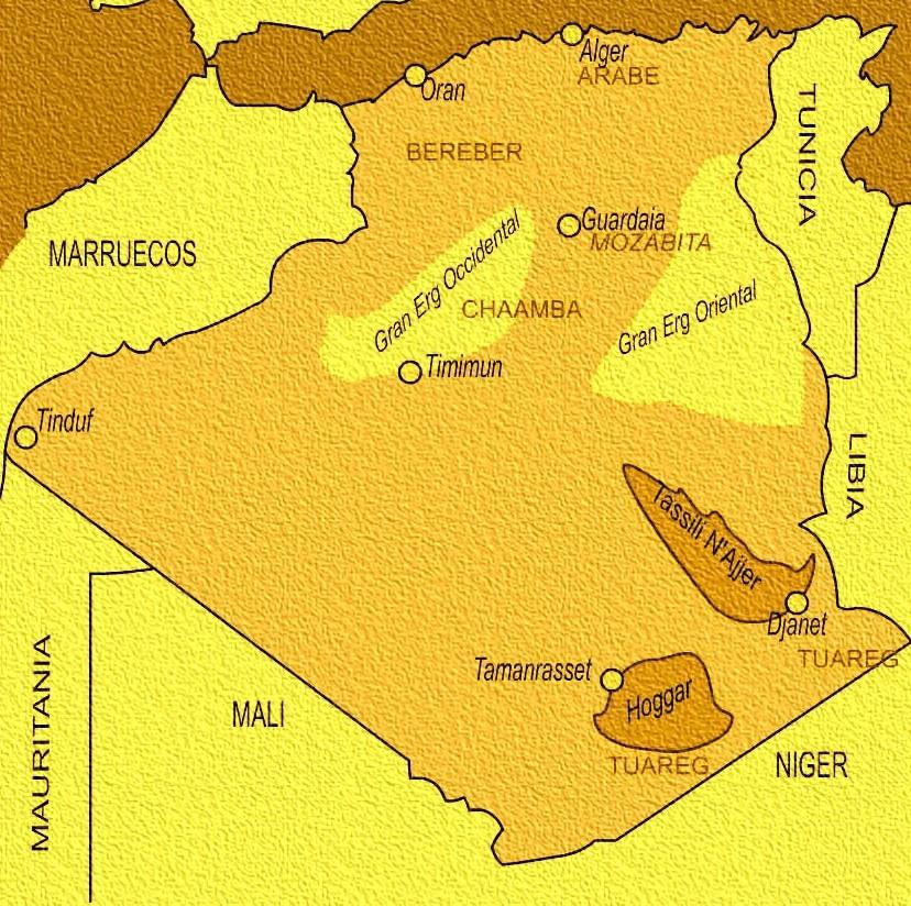 Mapa de ubicación de las cuevas de Tassili, en Argelia, África