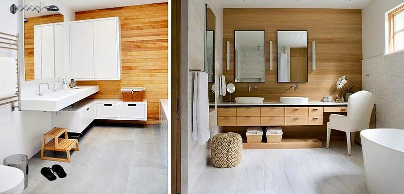 Marzua cuartos de ba o con paredes de madera for Decoracion de interiores modernos 2017