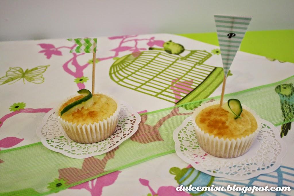 Muffin, pepino, romero, limón, blondas, whasi tape, banderin, capsula, bandeja horno, salado, dulcemisu, decoración