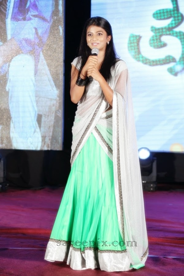 Actress-Haasika-half-saree-Green signal-audio-launch