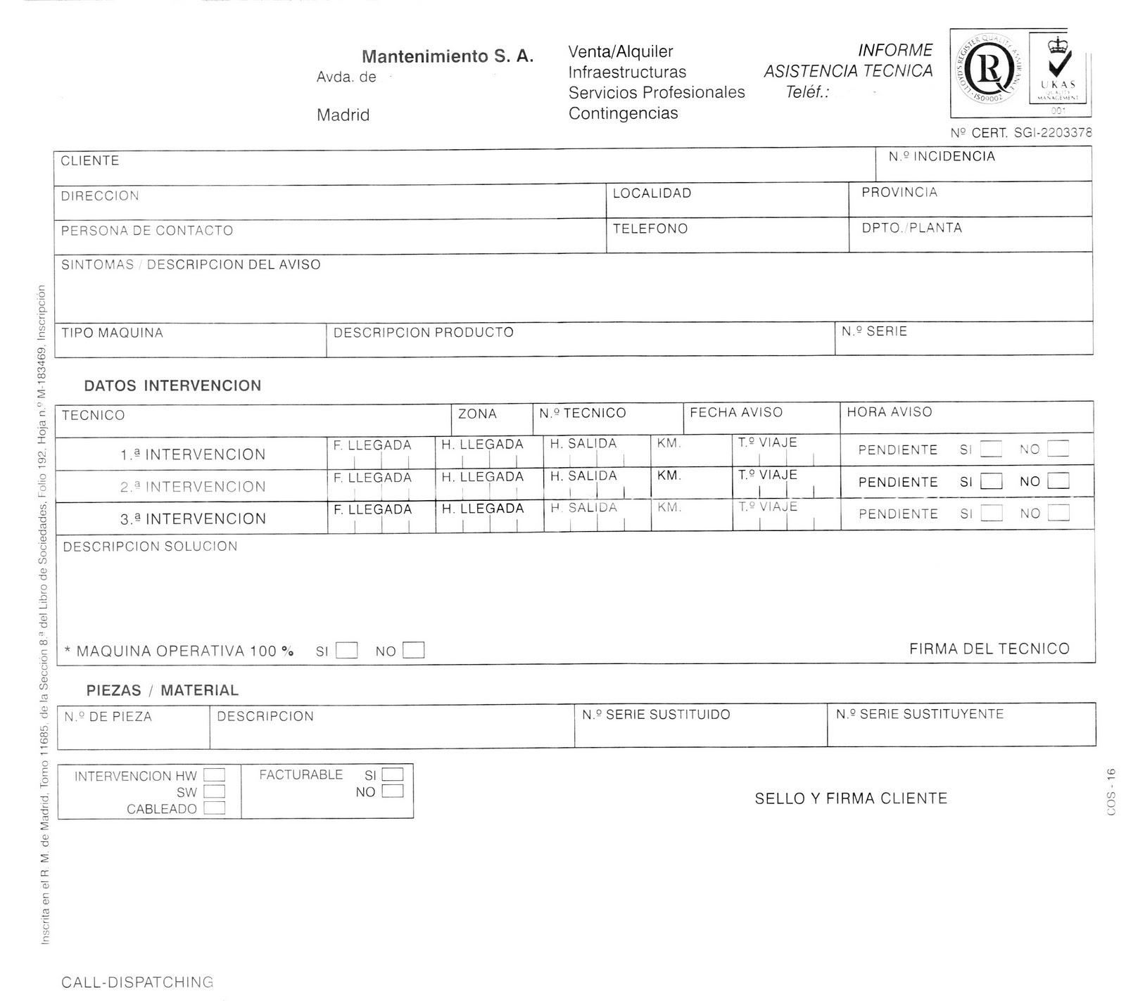 Modelo de RMA o Informe de Asistencia Técnica ~ Ciclos, TIC y PDI ...