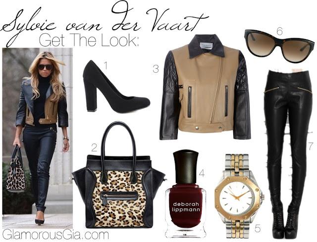 Collage of Sylvie van der Vaart Meis wearing a two tone jacket and celine bag.