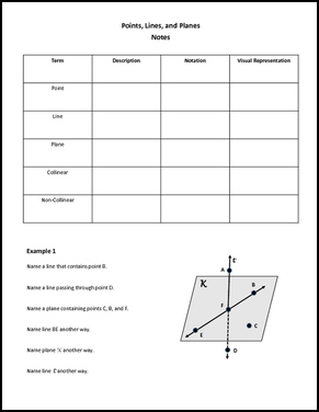 Worksheet: Points, Lines, and Planes - Collinear and Coplanar ...