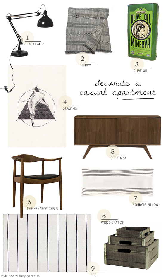 A casual apartment in Sweden shopping style board