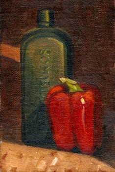 Oil painting of a red pepper beside a green antique Schiedam schnapps bottle.