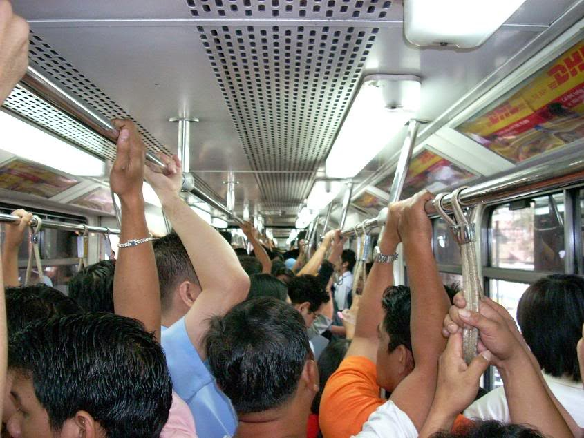 Another crowded scene inside the MRT train