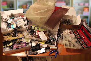 Recycled crafts:  what will go into the repurposed suitcase