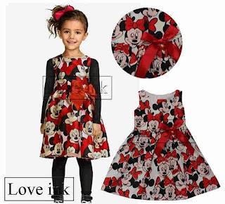 Dress Anak Minnie Red Ribbon - Baju Anak Love Ink - Harga Saudara