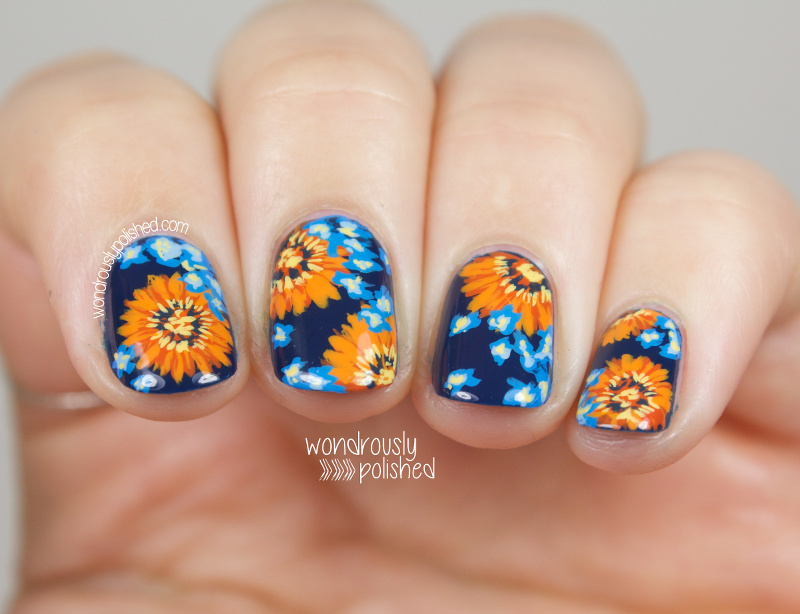Wondrously Polished: NAGG - Day 5: Blue and Orange Daisy Nail Art