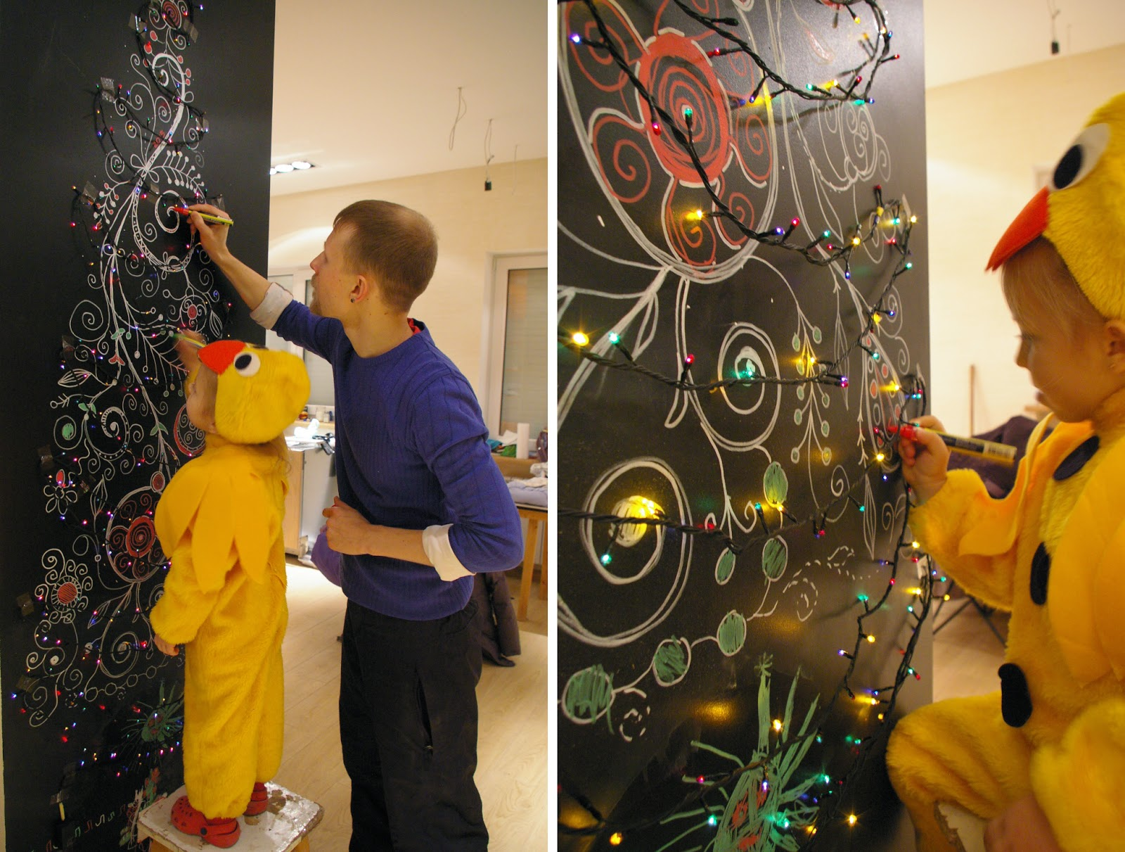 Грифельная краска Tikkurila Koulutaulumaali Blackboard в интерьере