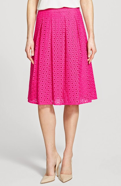Eyelet Pleat Front Skirt