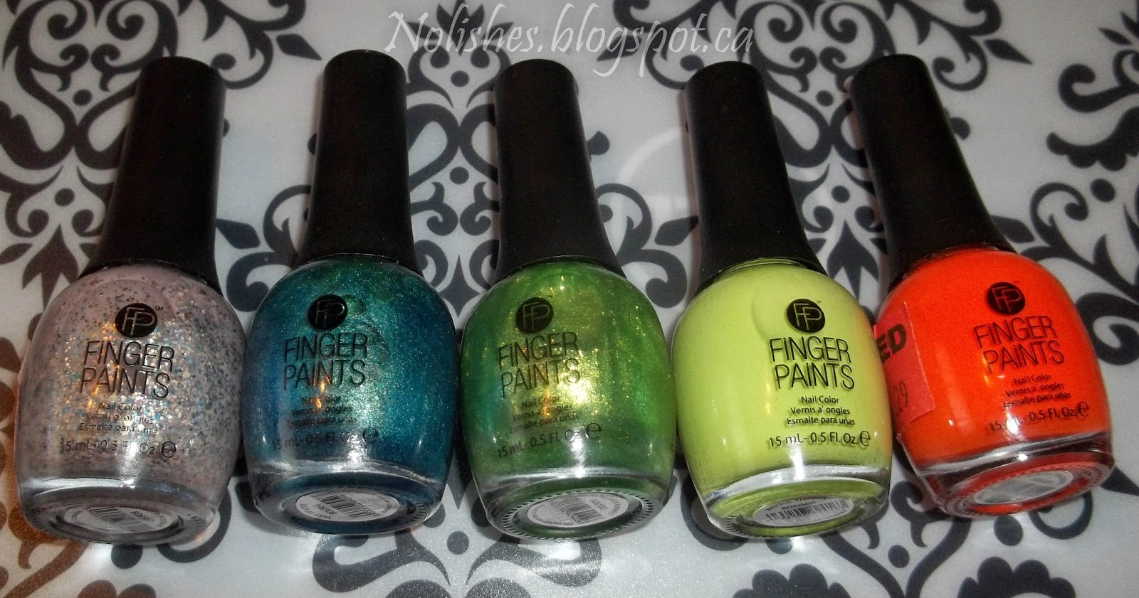Finger Paints Polish from left to right: 'Hollywood Decadence', 'Tails of Love', 'Margarita Mambo', 'Mistful Thinking', and 'Kitchy Tangerine'.