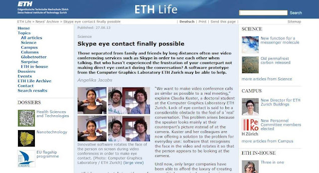 Skype video cam chat: How to do with maintaining eye-to-eye contact?