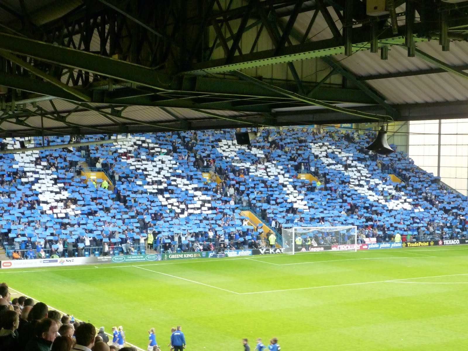 The Pompey Fans In Fratton End Displayed 1898 Before Game Against Norwich City Last Home Of 2010 11 Season