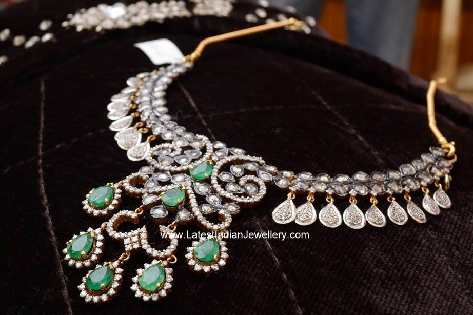 contemporary designer diamond emerald necklace