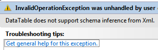 DataTable does not support schema inference from Xml