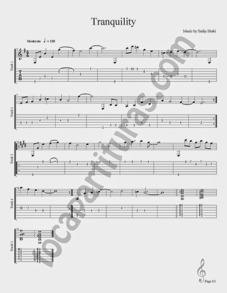 """Primera tablatura y partitura de guitarra del segundo colaborador del proyecto en habla inglesa. Sadip colabora con partituras y tablaturas de guitarra desde www.tubescore.net, blog oficial del proyecto para partituras en inglés. Sadip pasa a ser el colaborador nº 49 del Proyecto. Puedes ver la lista de colaboradores/as pinchando aquí.  El nuevo colaborador procede de Nepal. Puedes ver sus publicaciones en inglés desde tubescore.net. A continuación desde tocapartituras.com empezamos a compartir sus arreglos de canciones para guitarra.  Gracias Sadip Shahi por colaborar y compartir tus partituras y a todos los colaboradores/as del blog. Ya somos 49 y esperamos tu colaboración. Puedes colaborar aunque no sepas escribir partituras, publicando partituras de nuestros colaboradores/as como Sadip.  La primera canción que nos comparte para aprender a tocar la guitarra es una composición propia de Sadip, canción de música del Nepal, tablatura o tab que comparte titulada """"Tranquility""""  Partitura del Punteo, Tablatura de Guitarra de Tranquility by Saip Shahi Tab Sheet Music for Guitar Tablature"""